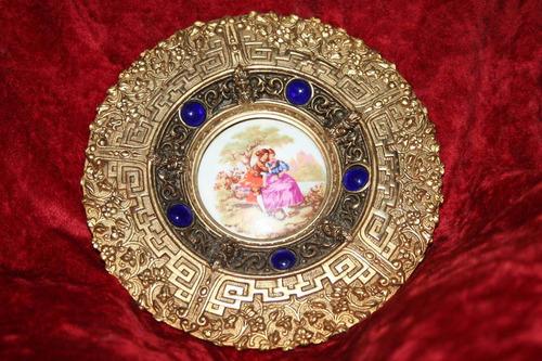 plato limoges fragonard bronce-porcelaina antiguo