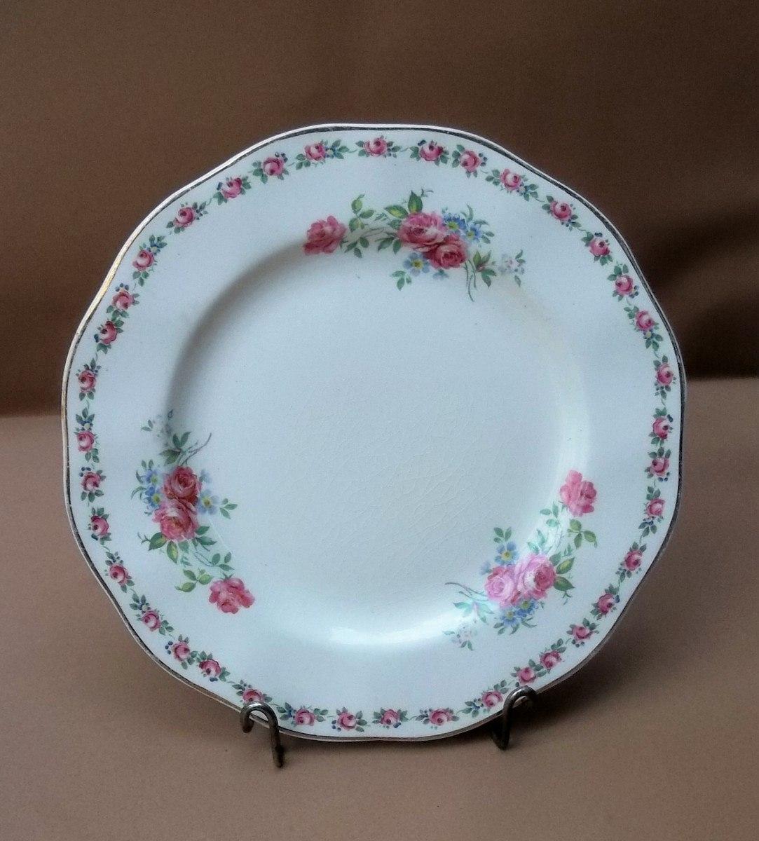 plato loza inglesa wedwood antiguo dise o de rositas