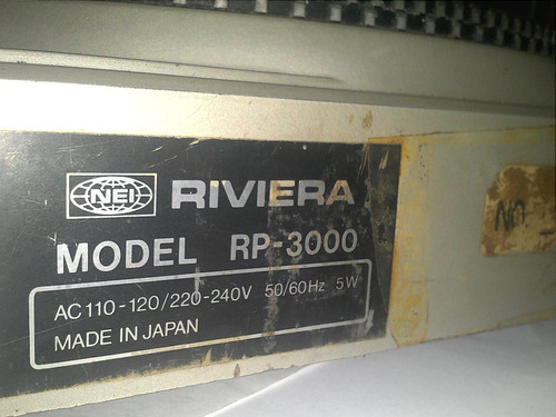 plato marca riviera rp-3000 para reparar ( sin cabezal)