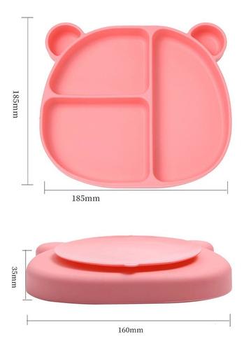plato oso de silicona para bebé con ventosa