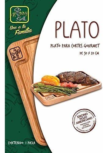 plato para cortes gourmet, color encino/rojo
