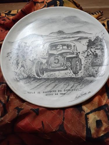 plato pintado automóvil ford 1960