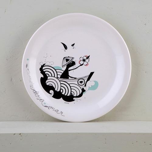 plato playo de diseño decorado de cerámica | amazónica