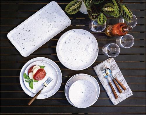 plato playo de melamina terrazo x 4 unidades