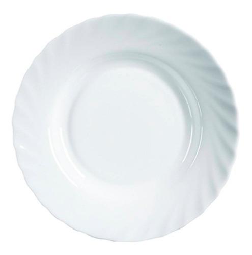 plato playo redondo luminarc trianon vidrio templado extra resistente platos playos por unidad blanco - 24,5 cm