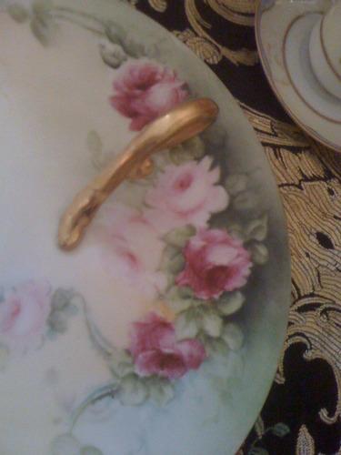 plato porcelana fina flores grande