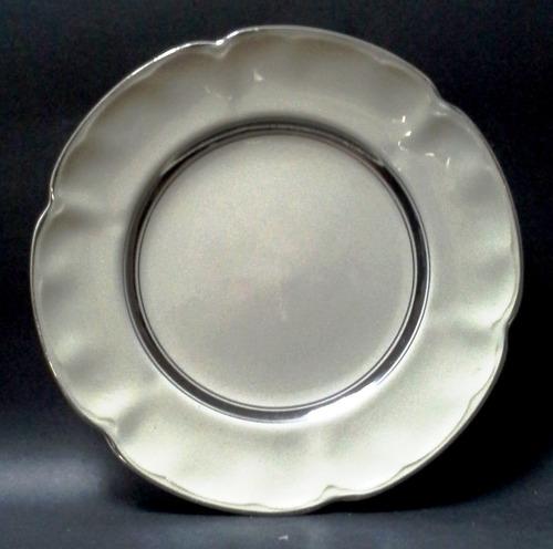 plato porcelana inglesa beige aro plateado johnson