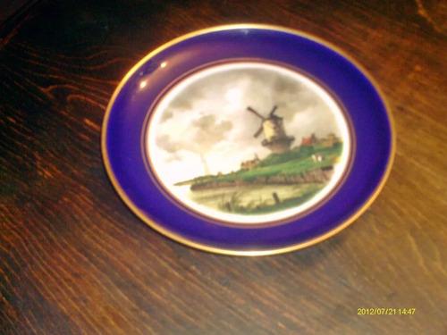 plato porcelana lindner kueps bavaria escena holandesa azul