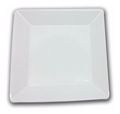 plato postre 20 cms. cuadrado blanco oxford