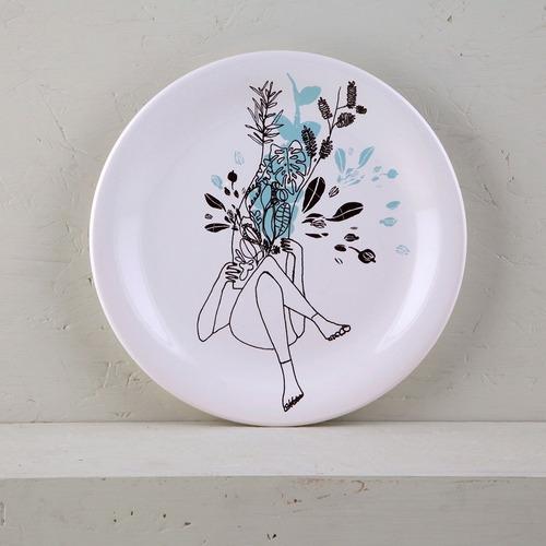 plato postre de diseño decorado de cerámica | amazónica