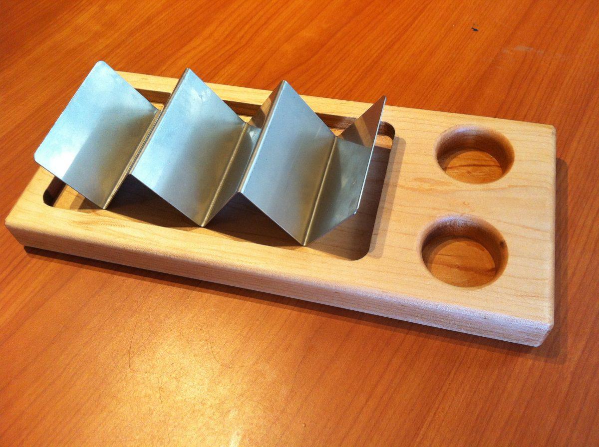plato taquero madera porta tacos acero inoxidable salseras