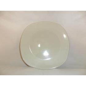 Plato Trinche Cuadrado De Loza 25.5 Cm Color Blanco 50 Pzs.