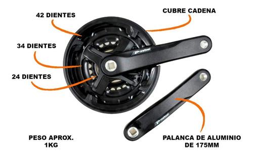 plato triple bicicleta mtb - prowheel - aluminio