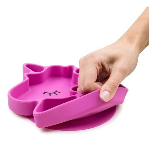 plato unicornio de silicona para bebé con ventosa
