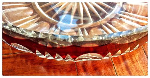plato vidrio tallado para centro de mesa.