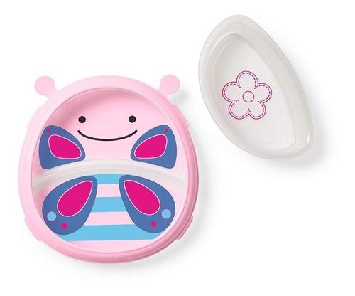 plato y cuchara para bebes rosado mariposa