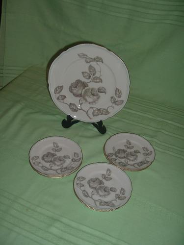 plato y seis platitos de porcelana para torta