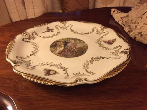 platon de torta porcelana bavaria con escenas