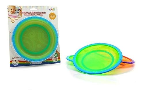 platos anti-deslizantes de colores x 3 unidades - baby innov
