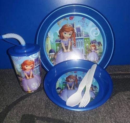 platos con vaso capitan amaerica princesas cars loncheras