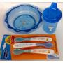 Plato + Vaso + Cucharitas Combo Figura Mono Azul Evenflo