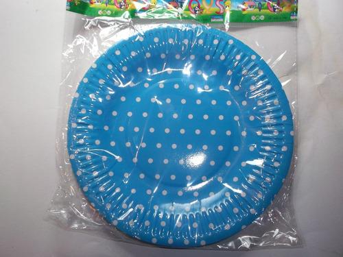 platos de carton a lunares blancos      10 x $  65