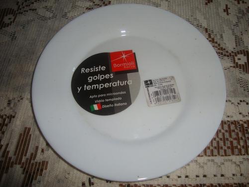 platos de lunch vidrio opalinado