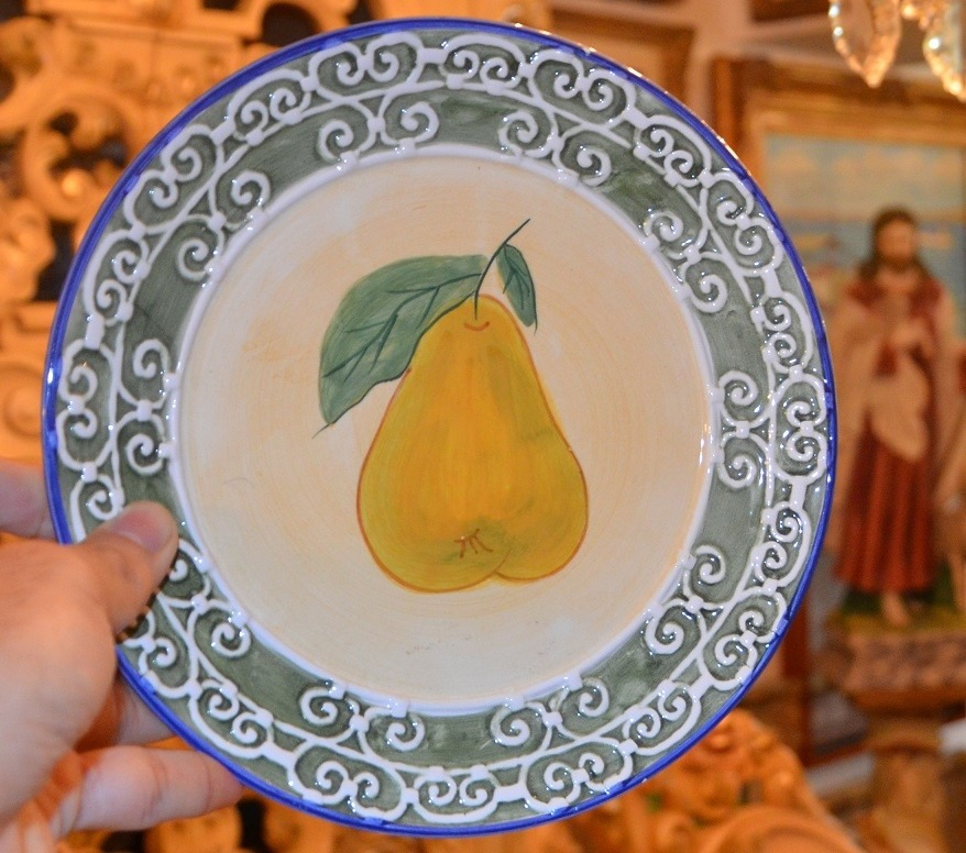 platos de porcelana pintados a mano de frutas precio c u