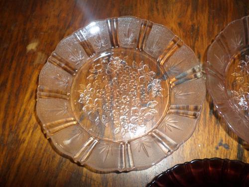platos de vidrio cristalino tamaño mediano
