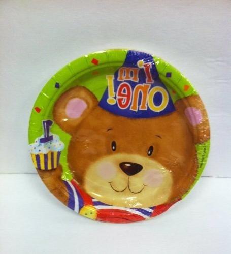 platos desechables pequeños 1er año /oso (peluche /teddy
