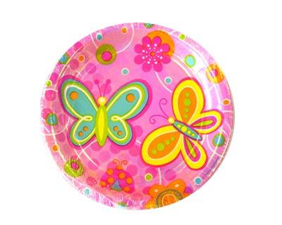 platos desechables pequeños mariposas