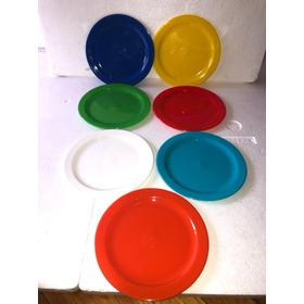Platos Plásticos Postre Irrompibles De Colores X 50 Unidades