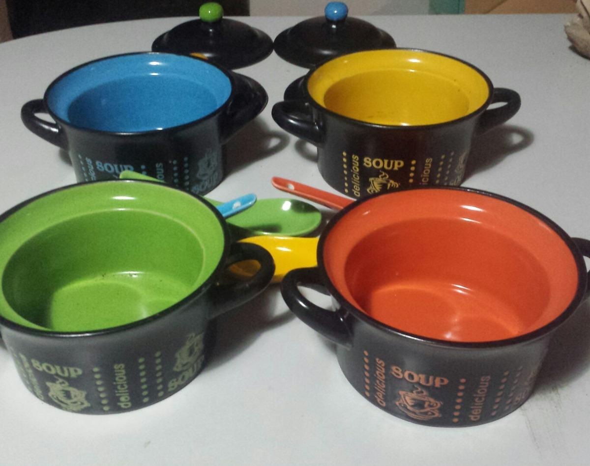 Platos soperos de ceramica set con cucharas y tapas de color bs 34 99 en mercado libre - Platos ceramica colores ...