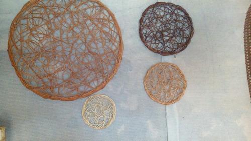 platos/discos/murales  de mimbre para decoración de pared