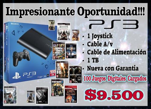 play 3 con 100 juegos instalados!!!!nueva