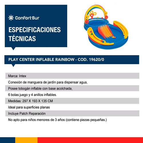 play center pileta niños inflable intex rainbow env **10