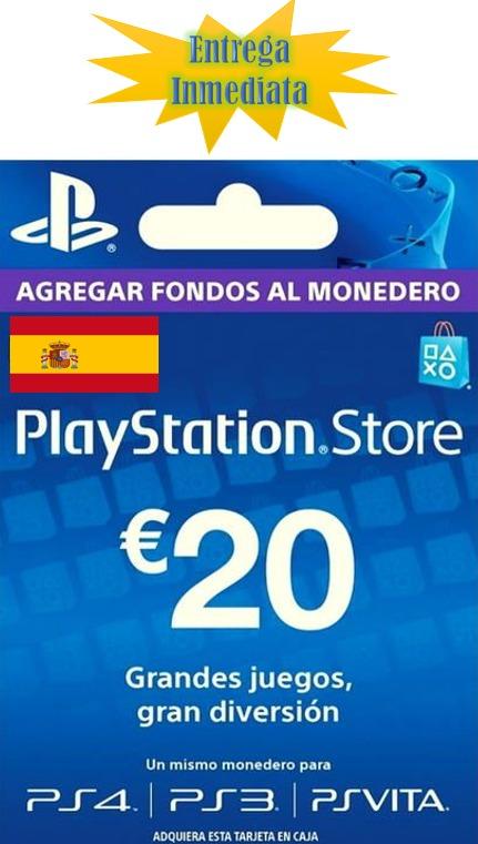 Play Station Store Psn Gift Card Tarjeta 20 Euros Espana U S 26