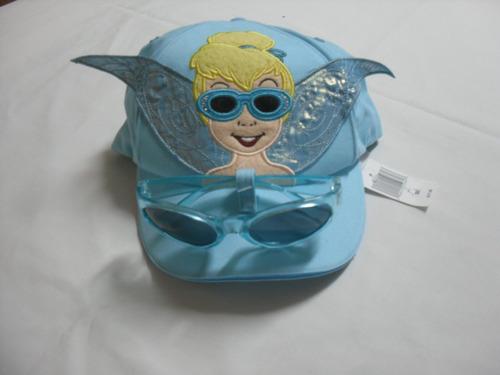 playa gorra + lentes de sol tinkerbell disney para niña