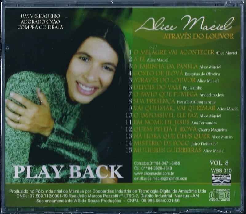cd atraves do louvor alice maciel playback