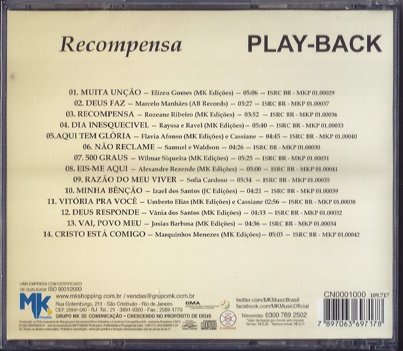 cd cassiane recompensa playback para