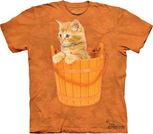 playera 4d - unisex infantiles -  8169 bucket kitten.