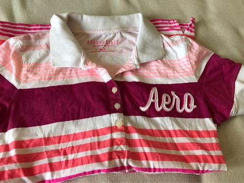 playera aeropostale m rosa bebe con blanco cuello polo