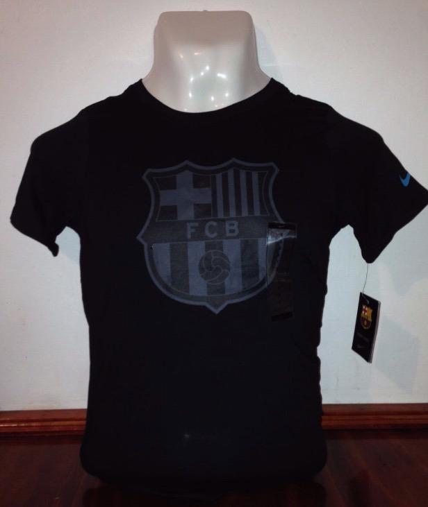 Playera Barcelona Fc Nike Niño Negra Orginal Crees Tee -   199.00 en ... 31e28962942