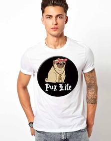 ff57b1d448 Playera Blanca Algodón Mascota Pug Life Perro