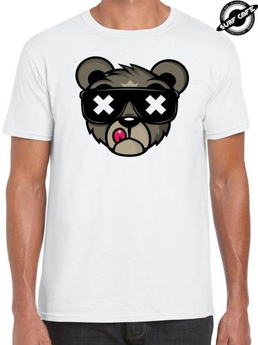 playera blanca con sublimado de bear oso