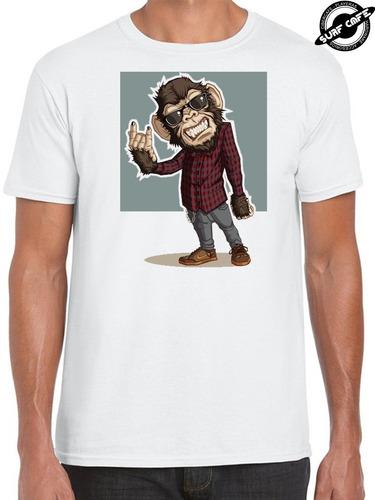 playera blanca con sublimado de monkey