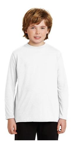 playera blanca para sublimar niño dry fit manga larga