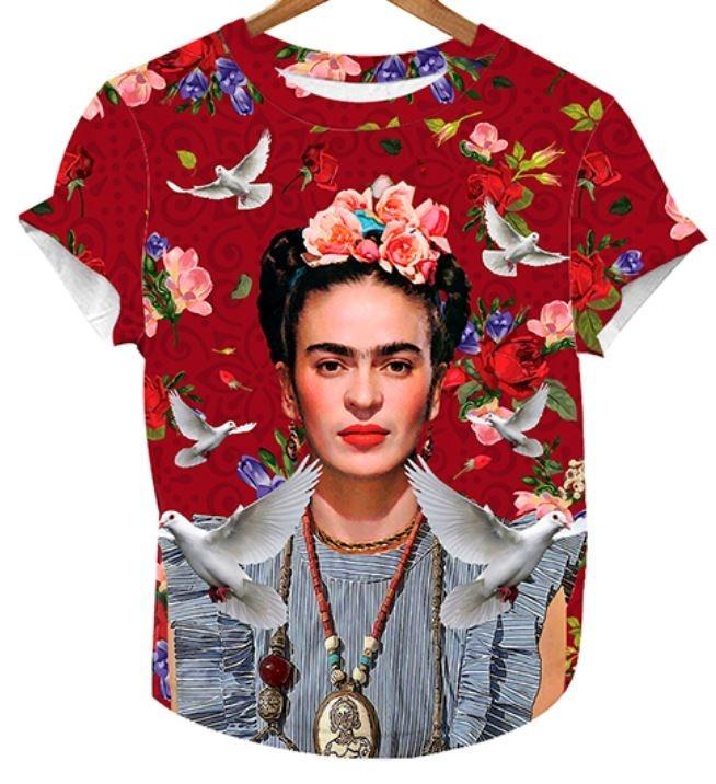 Playera Blusa Frida Kahlo Dama Palomas Flores Mexicana