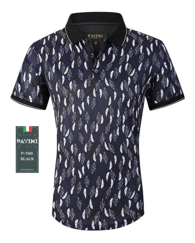 playera caballero marca pavini original p766 negra