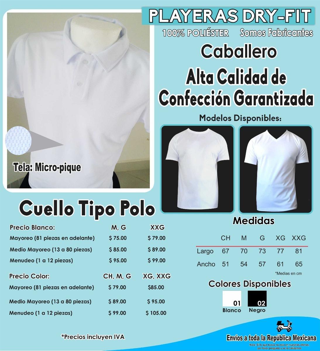 fa551c2c19f00 Playera Caballero Tipo Polo 100% Poliester Micro-pique -   95.00 en ...